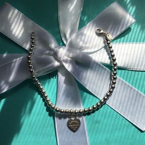 "Tiffany & Co RTT enamel heart bracelet 7"" Long"